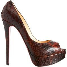 christian louboutin peep-toe snakeskin pumps