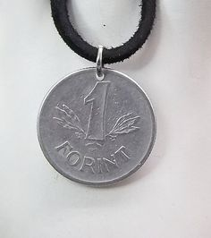 Hungary Coin Necklace 1 Forint Coin Pendant by AutumnWindsJewelry