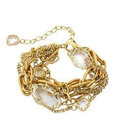 Look at this #zulilyfind! Riccova Gold & Clear Glass Bracelet by Riccova #zulilyfinds