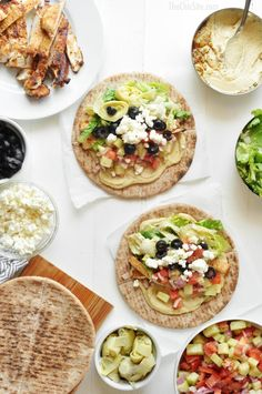 Mediterranean Tacos - a healthy recipe with simple ingredients. Store bought hummus acts as a delicious sauce!