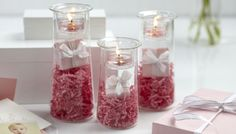 Shop online at  http://www.partylite.biz/legacy/sites/nikkihendrix/productcatalog?page=productlisting.category&categoryId=58290&viewAll=true&showCrumbs=true pink, presents, glass, candles, white, wedding, tealights, ribbon, centerpiece, decorations, shower