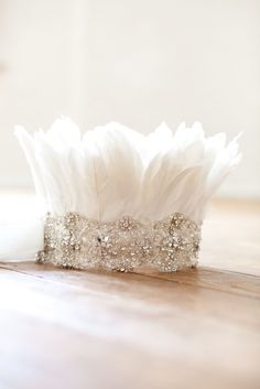 Glitter and feather party crown from Shut the Front Door Headpiece Wedding, Bridal Headpieces, Fascinators, Wedding Accessories, Hair Accessories, Feather Crown, Feather Headdress, Feather Headband, Tiaras And Crowns