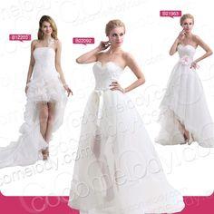 Asymmetrical White Wedding Dress Lace High-low Ivory Beach Bridal Gown New SALE