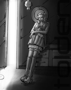Gaudi Girl 012.Mai 2013.Dessin au feutre noir. D'après photo.Ebauche de l'ambiance sous photoshop.