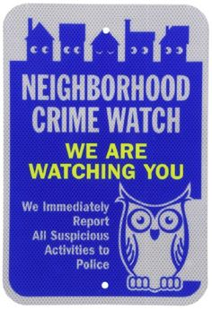 """SmartSign 3M Diamond Grade Reflective Aluminum Sign, Legend """"Neighborhood Crime Watch We Are Watching You"""" with Graphic, 18"""" high x 12"""" wide, Blue/Yellow on White SmartSign by Lyle"""