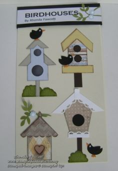 Blackbirds and birdhouses. Sweet embellishments for scrapbooking or card making.