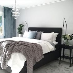 I love a neutral base palette soft colour accents. Loving these soft teal curtains and delicate glass pendant light! Home Decor Ideas Decorations DIY Home Make Over Furniture Small Room Bedroom, Cozy Bedroom, Bedroom Inspo, Dream Bedroom, Home Decor Bedroom, Modern Bedroom, Master Bedroom, My New Room, House Rooms