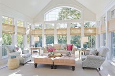 There's just something about Sun Rooms. Tons of windows, natural light beaming in… plus you can usually see playful furniture or colorful textiles. Really, anything goes in this space. So here's 10 sunny Sun Rooms to brighten your day… Transitional Living Room by Chicago Interior Designers & Decorators Tom Stringer Design Partners Traditional Porch by …