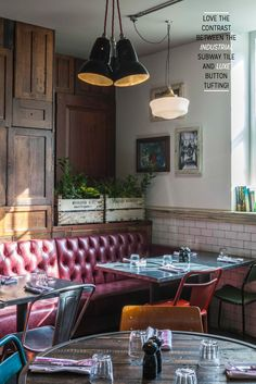 Inside Jamie Oliver's Colourful New Trattoria. This may be a restaurant, but that doesnt mean I cant steal this look for my abode! Jamies Restaurant, Deco Restaurant, Restaurant Design, Restaurant Ideas, Cafe Bistro, Cafe Bar, Cafe Interior Design, Cafe Design, Commercial Design