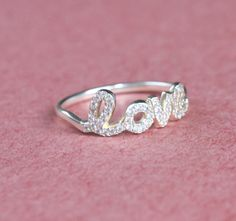 Personalized Names Ring Jeweled diamond  Sterling by Bestyle, $38.00
