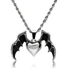 Heart with Bat Wings Pendant with 20 inch Stainless Steel Chain #RockerRings