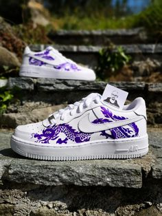 - 1 pair of authentic Nike Air Force 1 - 2 dragons - permanent paint - no patches, vinyl or bs - many compliments from others. White Nike Shoes, Nike Air Shoes, Custom Sneakers, Custom Shoes, Nike Custom, Air Force One Shoes, Nike Air Force, Sneakers Nike Jordan, Stacy Adams Shoes