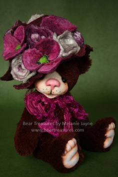 Mohair artist teddy bear designed and created by Melanie Jayne of Bear Treasures