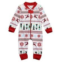2016 Christmas Baby Boys Girls Autumn Warm Zipper Long Snowflake Bodysuit One Piece Outfits New Arriving(China (Mainland))