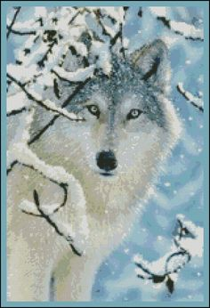 Blue Wolf - Counted Cross Stitch and Needle Point Chart Pattern. $18.00, via Etsy.