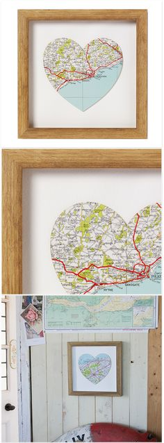 Bombus - Map Heart – Framed Heart Map, Heart Frame, Decor Crafts, Home Decor, Decorative Items, Decoration, Decor, Decoration Home, Room Decor