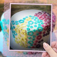 #flowerpower #birthdaycake #colorful #rainbowcakeinside Birthday Cake, Desserts, Food, Pies, Kuchen, Treats, Tailgate Desserts, Birthday Cakes, Dessert