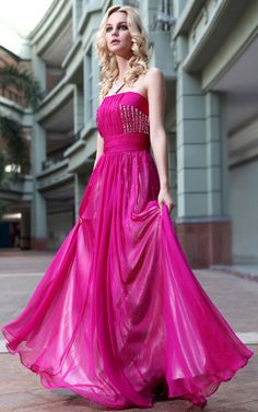 Absorbing Strapless Flat Pleated Beaded A-line Prom Dress