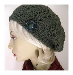 crocheted army hat | Army Green Bohemian Chic Hand Crocheted Slouchy Hat for women teens ...