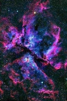 analamasblog: Eta Carinae & Carina NebulaThe Carina Nebula (also known as the Great Nebula in Carina, the Eta Carinae Nebula, NGC 3372, as well as the Grand Nebula) is a large bright nebula that has within its boundaries several related open clusters of stars. It contains the two large OB associations Carina OB1 and Carina OB2. Carina OB1 contains the two star clusters Trumpler 14 and Trumpler 16. Trumpler 14 is one of the youngest known star clusters, at half a million years old. ...