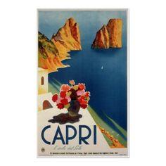 Capri, poster de viagens do vintage, Italia por yesterdaysgirl