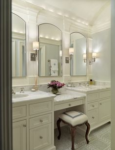 Nice double sinks with a vanity or storage in between