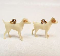 Victorian Gold Hound Dog Bracelet Charms / Carved Antler / Vintage Antique