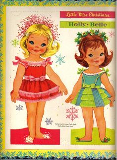 Vintage Little Miss Christmas paper dolls, via Kathleen Taylor's Dakota Dreams.
