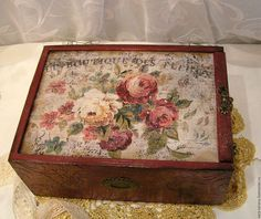 "Baskets, Boxes for handmade.  Fair Masters - handmade.  Buy Big box-case for needlework ""LE BOUTQUE DES FLEURS"" decoupage in.  Handmade."