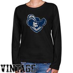NCAA Xavier Musketeers Ladies Black Distressed Logo Vintage Long Sleeve Classic Fit Tee - http://www.cincyshop.net/cincinnati-sports/xavier-university/ncaa-xavier-musketeers-ladies-black-distressed-logo-vintage-long-sleeve-classic-fit-tee/