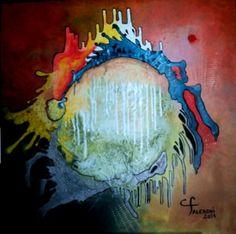 Pintura. Artista Maria Cristina Faleroni Titulo de la Obra: La Tierra sigue girando.
