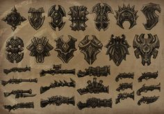 shields and guns 2d Game Art, 2d Art, Weapon Concept Art, Game Concept, Game Ui Design, Shape Design, Map Icons, Game Gem, Fantasy Weapons