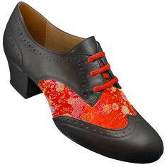 Aris Allen Women's Red Brocade Spectator Oxford Wingtip Swing Shoes – dancestore.com