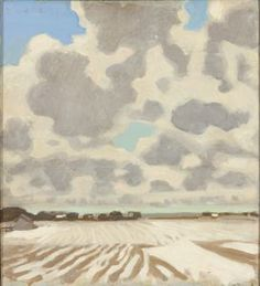 """""""Winter Clouds,"""" Fairfield Porter, 1967, oil on canvas, 19 3/8 x 17 5/8"""", Montgomery Museum of Fine Arts."""