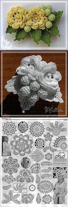 24 Super Ideas For Crochet Flowers Lace Ganchillo Freeform Crochet, Thread Crochet, Crochet Motif, Crochet Crafts, Crochet Leaves, Knitted Flowers, Irish Crochet Patterns, Crochet Designs, Appliques Au Crochet