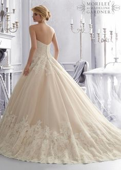 Ball Gown Open Back Alencon Lace Tulle Wedding Gown 2674, Mori Lee wedding dresses ~ Feenwedding.Com