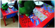 DIY a superhero side table. | 23 Ideas For Making The Ultimate Superhero Bedroom