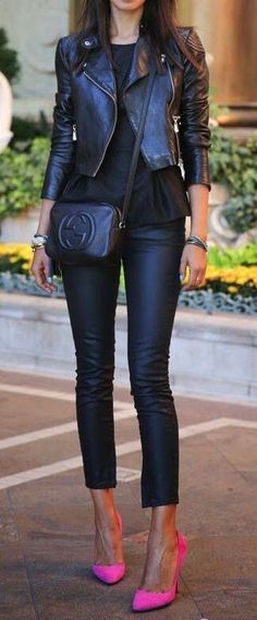 All black with hot pink heels.