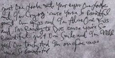 "The lyrics for ""Beautiful"" I love Ville's handwriting."