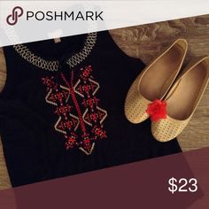 J. Jill Embroidered Top Nice black top. Would be great layered this fall. J. Jill Tops