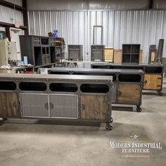 Couple of FreightBar cabinets plus a few other custom pieces getting ready to ship. All made handmade in Houston, TX 🇺🇸 USA Modern Industrial Furniture, Unique Furniture, Furniture Making, Wine Credenza, Sideboard Cabinet, Industrial Machinery, Tx Usa, New Condo, Architectural Elements