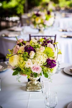 Lime Green, Pink & Purple Floral Centerpiece| Elegant Twin Oaks School House Wedding in Pink, Purple, & Lime Green|Photographer:  Brett Charles Rose Photo