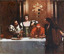 The painting shows (from the left) Cesare Borgia, his sister Lucrezia and his father Pope Alexander VI.