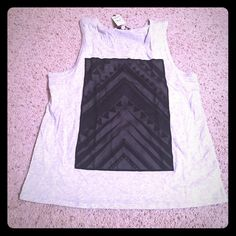 Express tank top with overlay L NWT Fun tribal looking tank for jean shorts and sandals. Express Tops Tank Tops