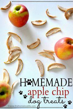 Homemade Apple Chip Dog Treats via First Home Love Life #pets #recipes #dogs