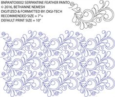 Nemesh Serpentine Feather Pantograph by Bethanne Nemesh BNPANTO0002