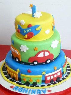 Nice colorful Fondant Cake for Boy . Little Boy Cakes, Baby Boy Cakes, Cakes For Boys, Pretty Cakes, Cute Cakes, Cars Theme Cake, Rodjendanske Torte, Transportation Birthday, Baby Birthday Cakes
