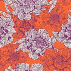 Orange and Purple Peonies #newonpatternbank
