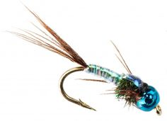 Tungsten Nymphhead Lighting Bug Blue with Blue Bead available at The Trout spot in sizes 12 to 16