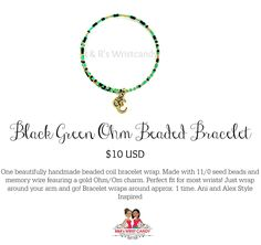 Black Green Ohm Beaded Bracelet by R & R's Wristcandy on Etsy $10 USD
